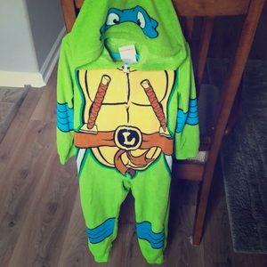 TMNT Full Zip Pajamas Fleece Jumpsuit SZ 6